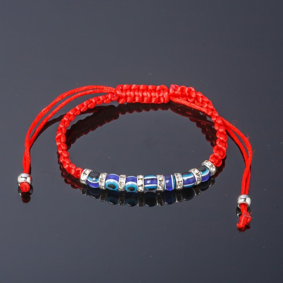 Плетёный браслет «Рондели» из красной нити с бусинами и стразами купить. Цена 69 грн