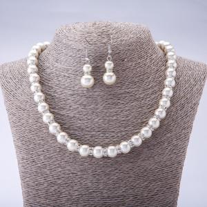 Свадебный набор «Театральный» из висячих серёжек и жемчужного ожерелья со стразами фото. Купить