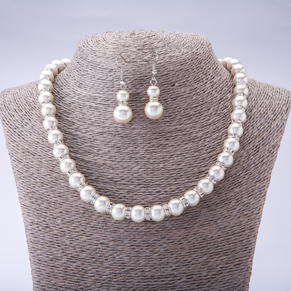 Свадебный набор «Театральный» из висячих серёжек и жемчужного ожерелья со стразами купить. Цена 265 грн