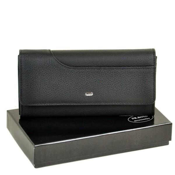 Чёрный женский кошелёк «Dr.Bond» на кнопке из натуральной мягкой кожи купить. Цена 699 грн