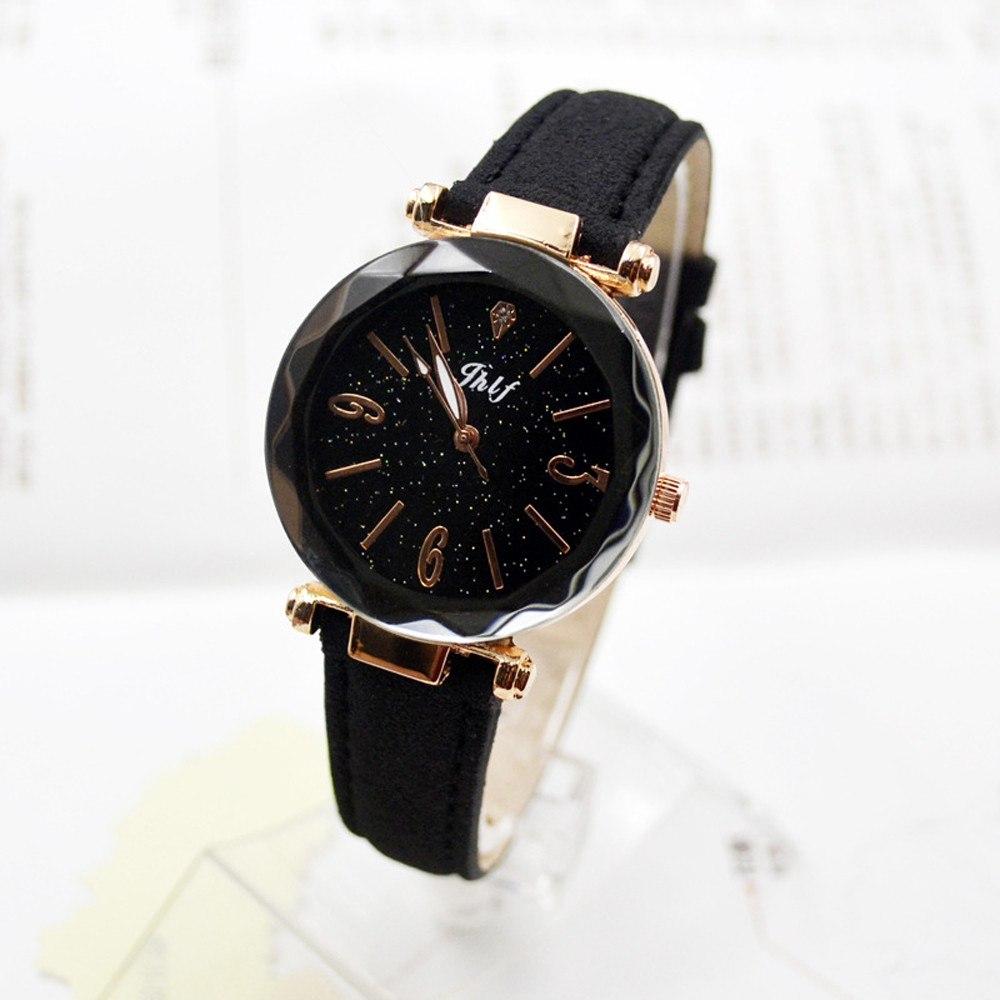 Чёрные наручные часы с гранённым стеклом и эффектом «звёздное небо» купить. Цена 265 грн