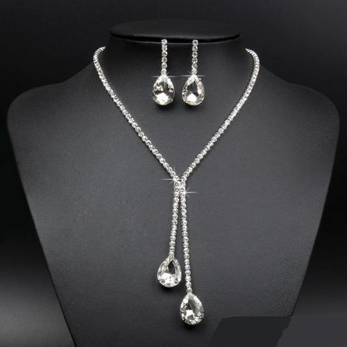 Нарядный комплект «Капелина» из серёжек и длинного ожерелья из страз купить. Цена 165 грн