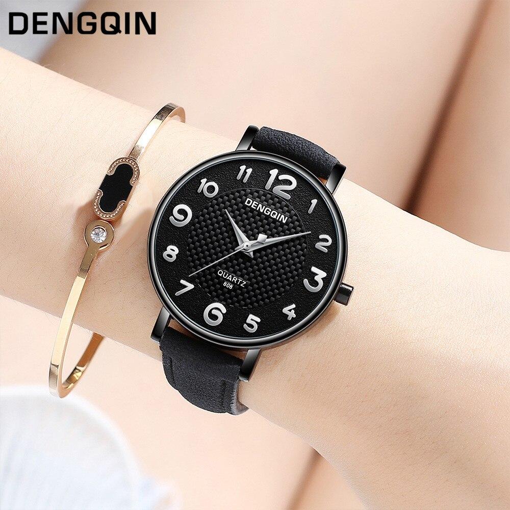 Чёрные женские часы «Dengqin» с серебристыми цифрами на красивом циферблате купить. Цена 299 грн