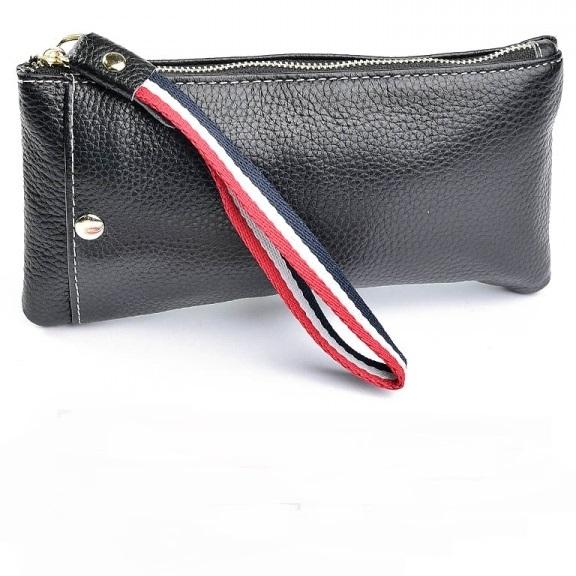 Женский кошелёк-клатч «Baliya» на змейке из зернистой чёрной кожи купить. Цена 499 грн