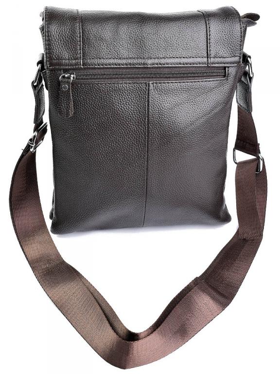 Крупная мужская сумка «Solana» из мягкой натуральной кожи шоколадного цвета фото 1