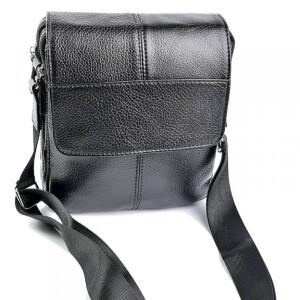 Мягкая мужская сумка «Laras» из чёрной глянцевой натуральной кожи купить. Цена 1399 грн