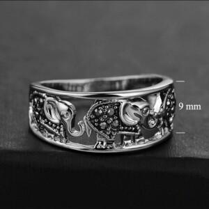 Аутентичное кольцо «Три слона» с покрытием под античное серебро купить. Цена 199 грн
