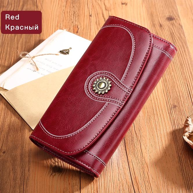 Крупный кошелёк «Sendefn» из плотной спил-кожи тёмно-красного цвета купить. Цена 799 грн