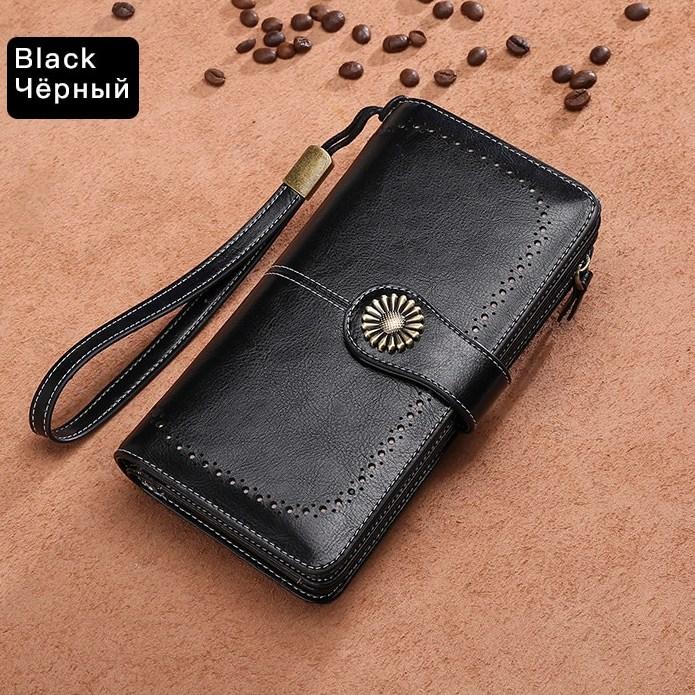Чёрный кошелёк-клатч «Sendefn» большого размера из гладкой спил-кожи купить. Цена 985 грн