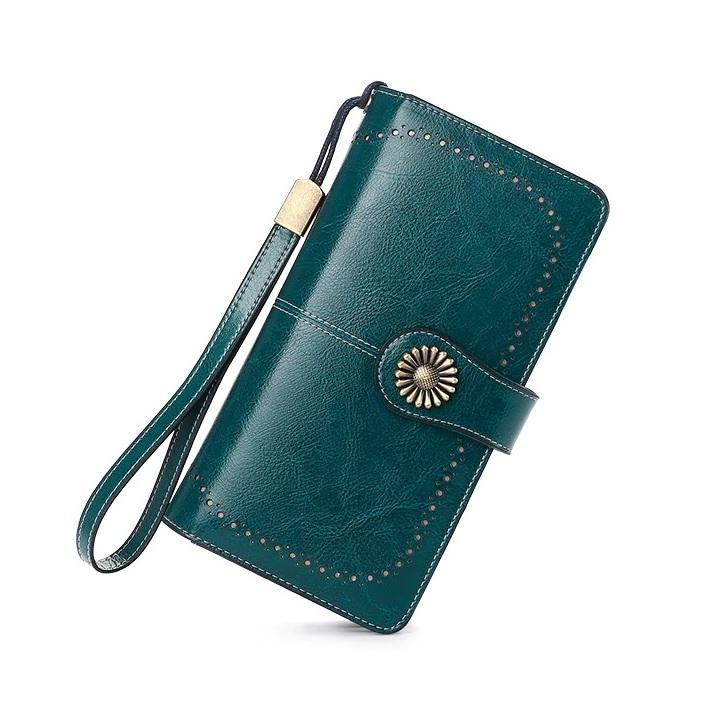Большой кошелёк-клатч «Sendefn» из гладкой спил-кожи синего цвета купить. Цена 985 грн