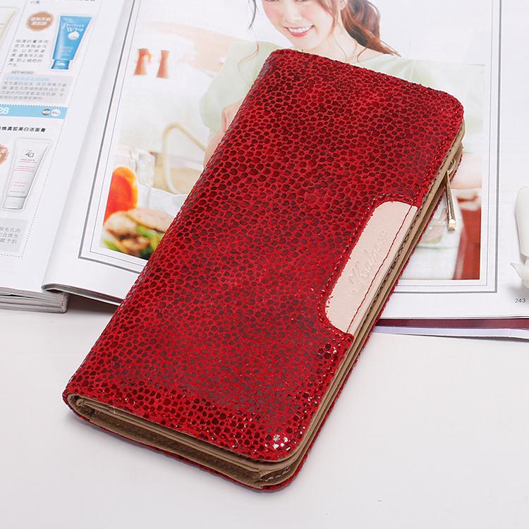 Роскошный кошелёк «Kalooer» из натуральной «лазерной» кожи красного цвета купить. Цена 1190 грн