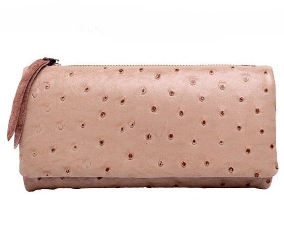 Бежевый кошелёк «Kalooer» с текстурой под страуса снаружи и мягкой кожей внутри купить. Цена 899 грн