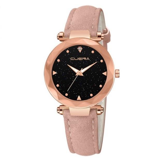 Аккуратные женские часы «Cuena» с золотым корпусом и розовым ремешком купить. Цена 299 грн
