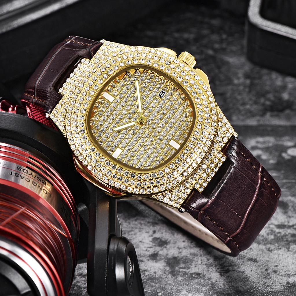 Большие часы «Quartz» усыпанные стразами с широким коричневым ремешком купить. Цена 760 грн