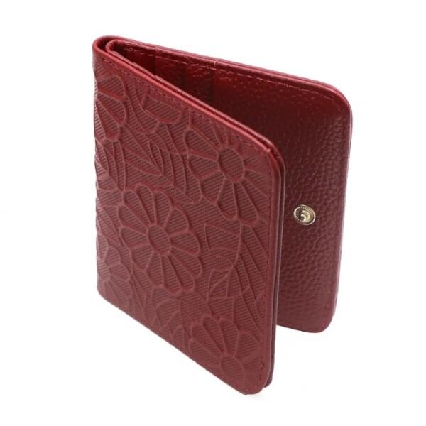 Ультратонкий женский кошелёк «Western» из натуральной кожи с цветочным узором купить. Цена 499 грн