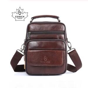 Небольшая мужская сумка «ZZnick» из мягкой коричневой кожи с ручкой купить. Цена 899 грн