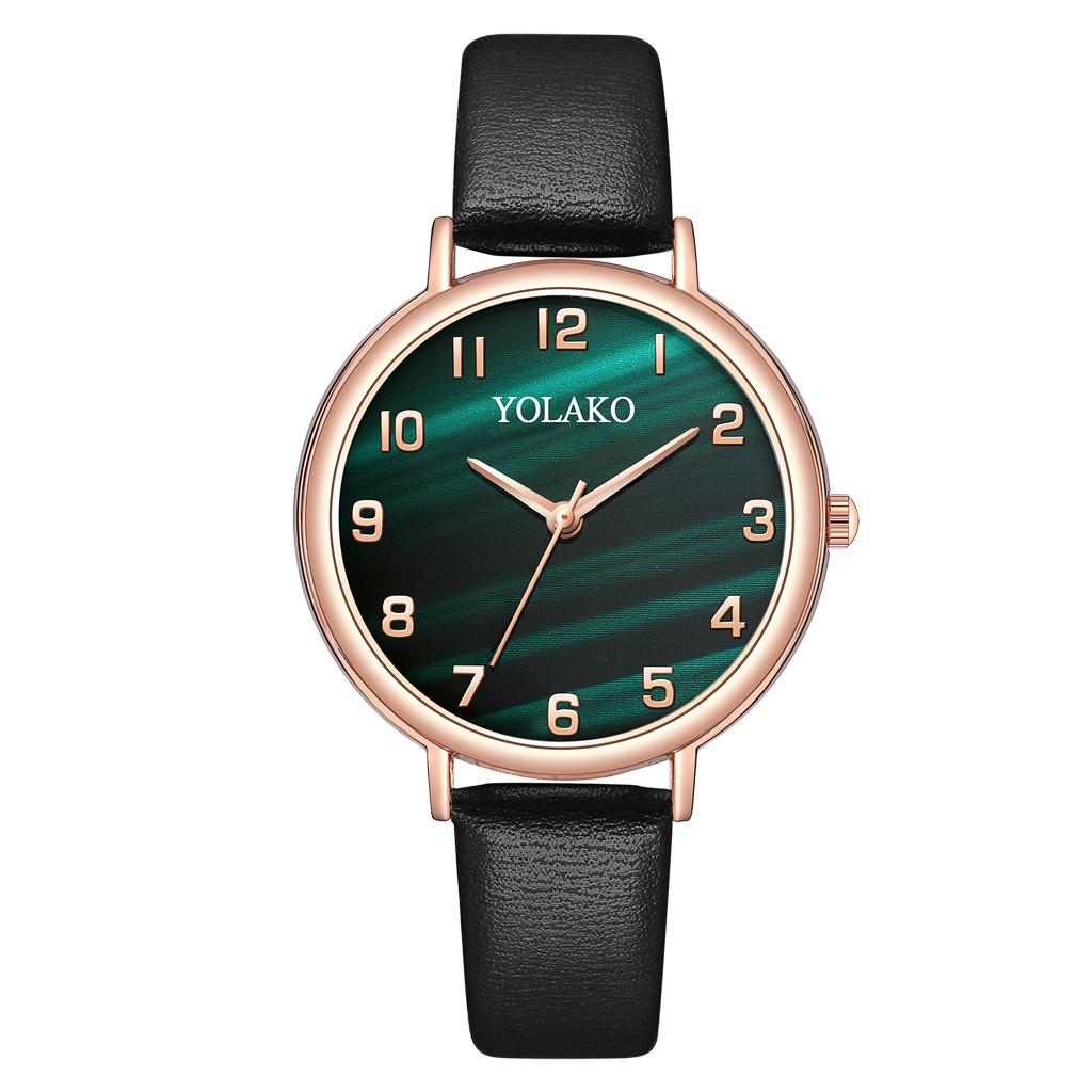 Аккуратные женские часы «Yolako» с красивым циферблатом зелёного цвета купить. Цена 265 грн