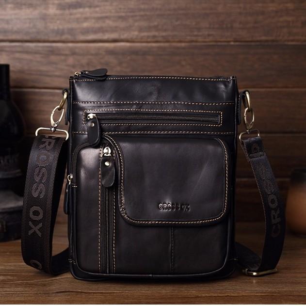 Брутальная мужская сумка «Cross Ox» из гладкой чёрной кожи с контрастной строчкой купить. Цена 1590 грн