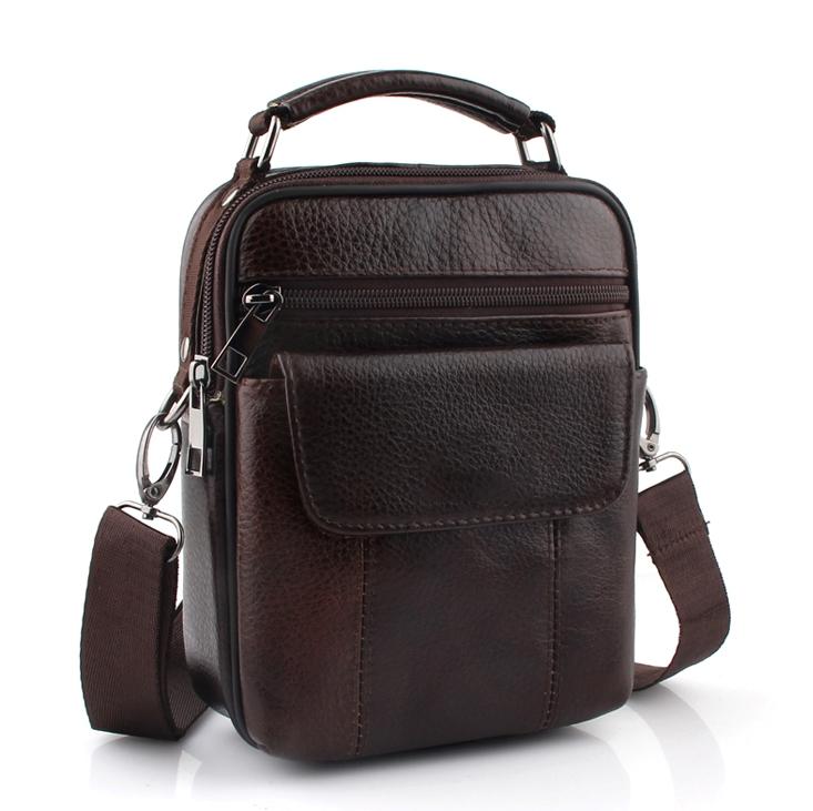 Качественная мужская сумка «ZZnick» из мягкой коричневой кожи купить. Цена 990 грн