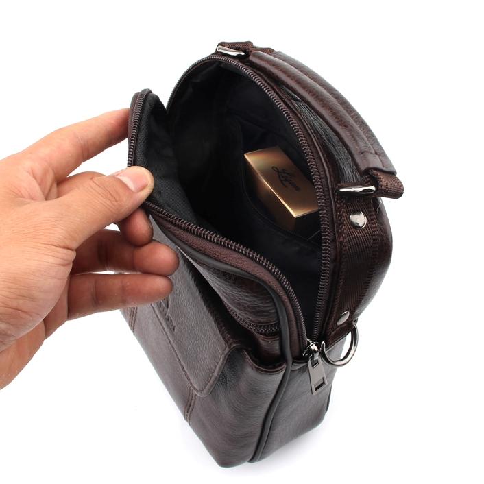 Качественная мужская сумка «ZZnick» из мягкой коричневой кожи фото 1