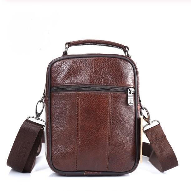 Качественная мужская сумка «ZZnick» из мягкой коричневой кожи фото 2