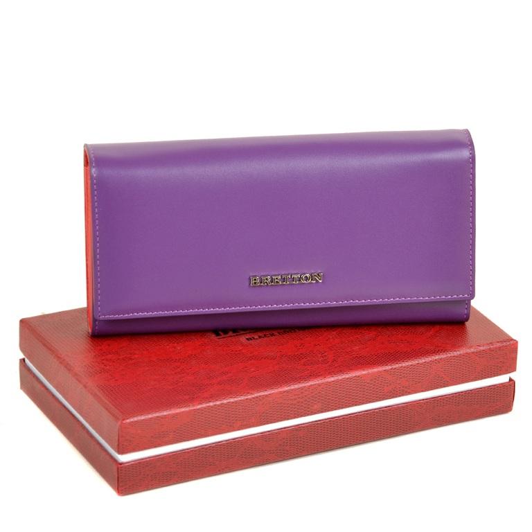 Элитный кошелёк «Bretton» из плотной натуральной кожи фиолетового цвета купить. Цена 1185 грн