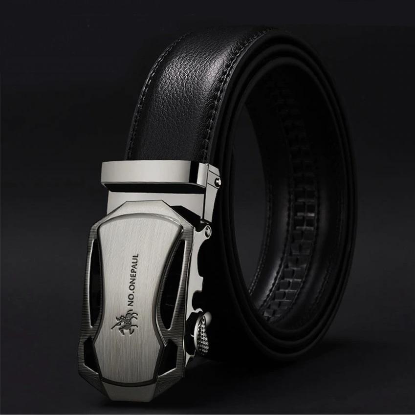 Красивый мужской ремень «NO.Onepaul» из экокожи чёрного цвета купить. Цена 299 грн
