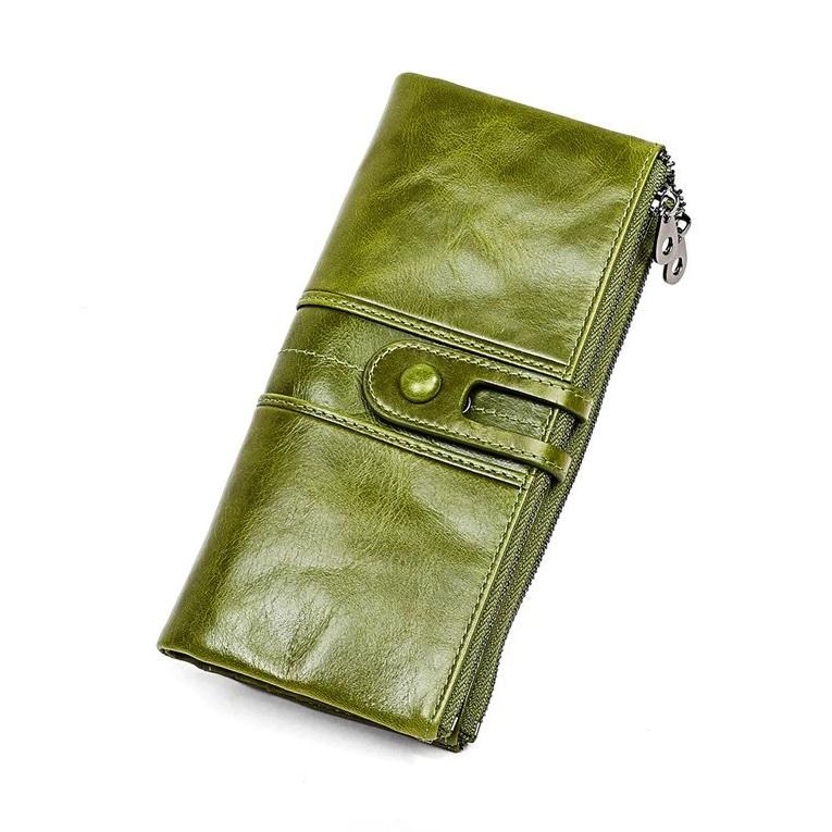 Оливкового цвета кошелёк «Joyir» из тонкой масляной кожи купить. Цена 899 грн