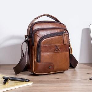 Оригинальная мужская сумка «Laoshizi Luosen» из качественной кожи рыжего цвета купить. Цена 1299 грн