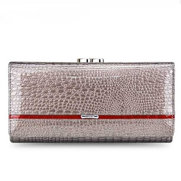 Красивый классический кошелёк «Dicihaya» из лаковой кожи серебряного цвета купить. Цена 799 грн