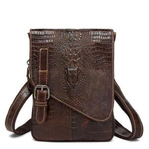 Необычная мужская сумка «Westal» из коричневой кожи с текстурой под рептилию купить. Цена 1280 грн