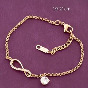 Молодёжный браслет «Бесконечность» с позолоченной цепочкой и цирконами купить. Цена 235 грн