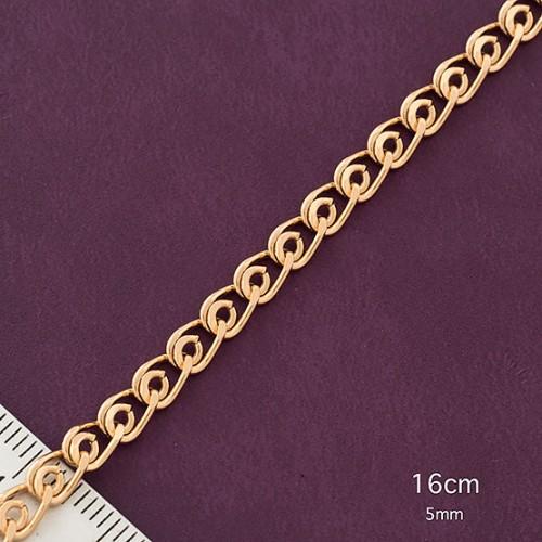 Тонкий браслет-цепочка с красивым плетением и настоящей позолотой купить. Цена 185 грн