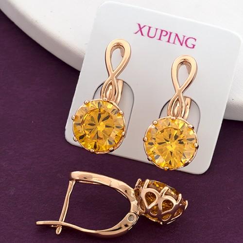 Витые серьги «Жанет» с круглым камнем жёлтого цвета в позолоченной оправе купить. Цена 165 грн