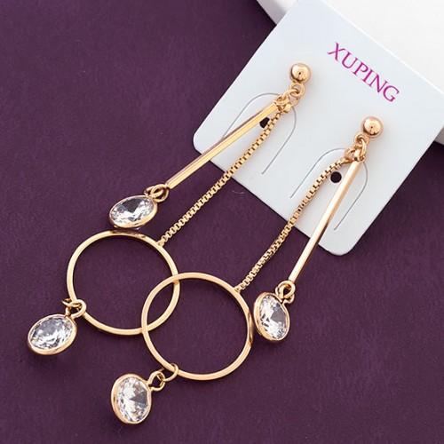 Очаровательные серьги «Памела» с бесцветными цирконами и золотым покрытием купить. Цена 285 грн