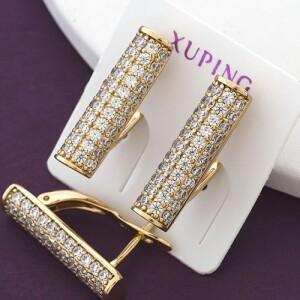 Престижные серьги «Миллениум» с камнями и позолотой от Xuping купить. Цена 190 грн