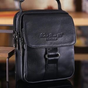 Маленькая мужская сумка «Xiao Duo Li» из чёрной глянцевой кожи отличного качества купить. Цена 970 грн