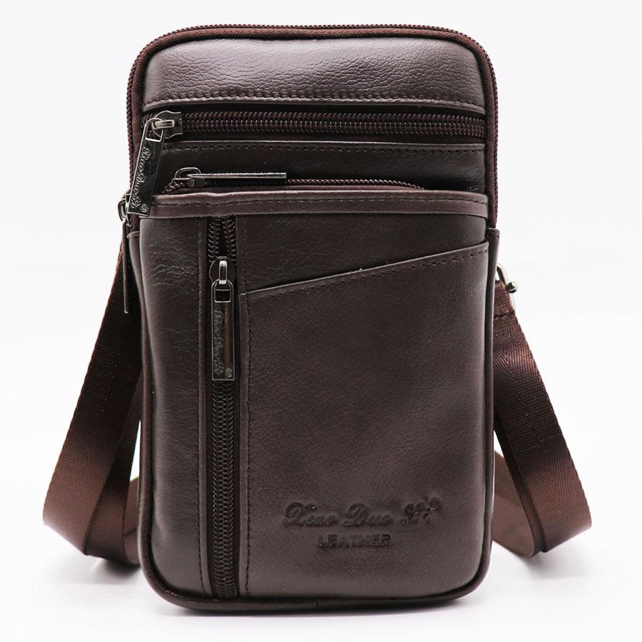 Компактная мужская сумка «Xiao Duo Li» мягкой масляной кожи шоколадного цвета купить. Цена 899 грн