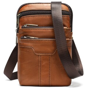 Мужская сумка «Xiao Duo Li» маленького размера из кожи песочного цвета в винтажном стиле фото. Купить