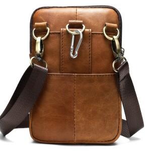 Мужская сумка «Xiao Duo Li» маленького размера из кожи песочного цвета в винтажном стиле фото 1