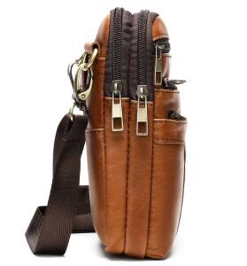 Мужская сумка «Xiao Duo Li» маленького размера из кожи песочного цвета в винтажном стиле фото 2