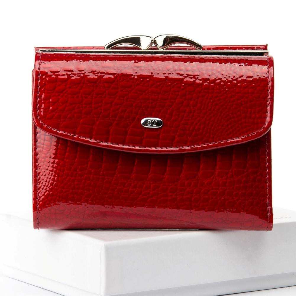 Практичный кошелёк «Sergio Torretti» из лаковой кожи ярко-красного цвета купить. Цена 585 грн