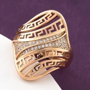 Крупное кольцо «Троя» с золотым напылением и белыми циркончиками купить. Цена 199 грн