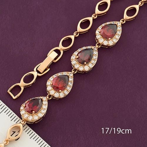 Неповторимый браслет «Маркиза» с красными цирконами и золотым покрытием купить. Цена 375 грн