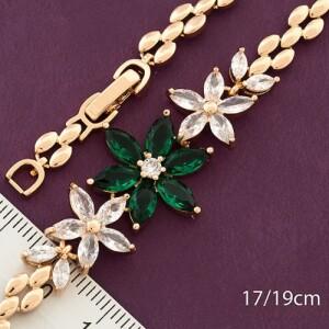 Замечательный браслет «Букетик» с фианитами и золотым покрытием от Xuping фото. Купить