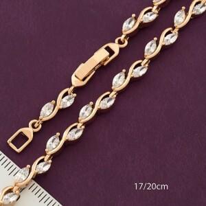 Симпатичный браслет «Лиана» с белыми цирконами и золотым напылением фото. Купить