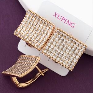 Роскошные серьги «Локаторы» прямоугольной формы с множеством бесцветных кристаллов купить. Цена 250 грн