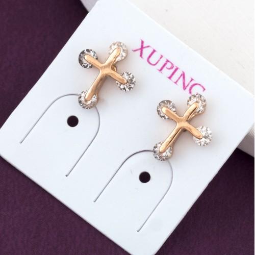 Малюсенькие серьги «Рождественские» в виде позолоченных крестиков купить. Цена 110 грн