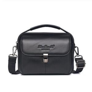Горизонтальная мужская сумка «Xiao Duo Li» из качественной мягкой кожи чёрного цвета купить. Цена 1199 грн