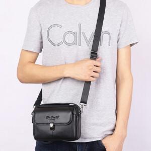 Горизонтальная мужская сумка «Xiao Duo Li» из качественной мягкой кожи чёрного цвета фото 1
